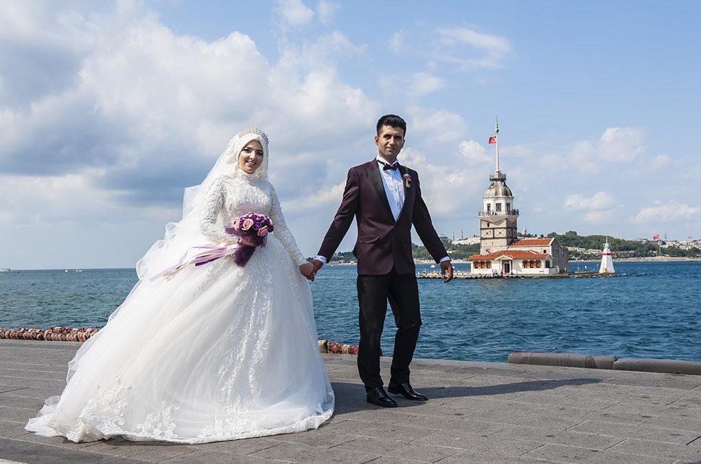Kız Kulesi, Fethi Paşa Korusu, Kuzguncuk Boğaz Sahil Düğün Fotoğrafları Çekimi